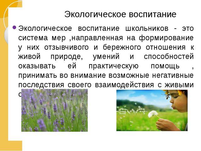 Экологическое воспитание Экологическое воспитание школьников - это система м...