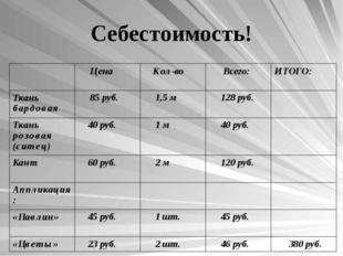 Себестоимость!  Цена Кол-во Всего:ИТОГО: Ткань бардовая 85 руб. 1,5 м