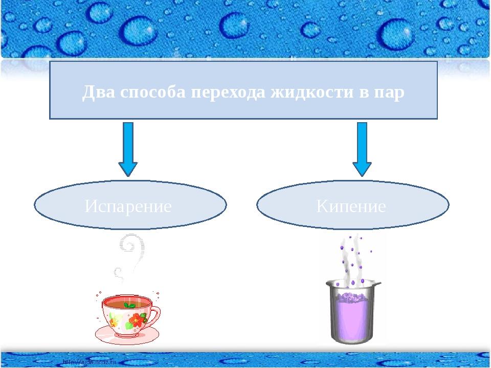 Два способа перехода жидкости в пар Испарение Кипение