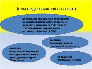 Цели педагогического опыта: оказание методической помощи молодым педагогам в