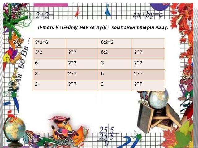ІІ-топ ІІ-топ. Көбейту мен бөлудің компоненттерін жазу. 3*2=6 6:2=3 3*2 ???...