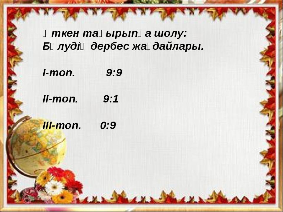 Өткен тақырыпқа шолу: Бөлудің дербес жағдайлары. І-топ. 9:9 ІІ-топ. 9:1 ІІІ-...