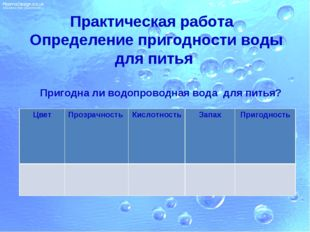 Практическая работа Определение пригодности воды для питья Пригодна ли водопр