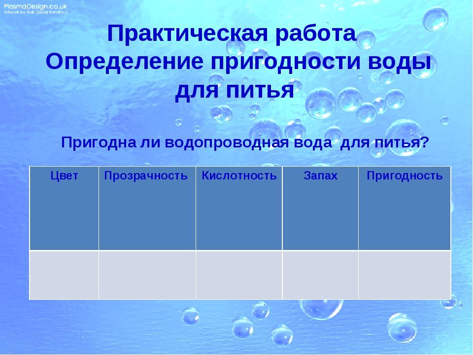 Практическая работа Определение пригодности воды для питья Пригодна ли водопр...