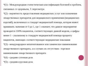 *(1) - Международная статистическая классификация болезней и проблем, связанн