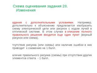 Схема оценивания задания 28. Изменения Задания с дополнительными условиями. Н