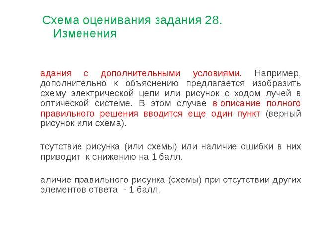 Схема оценивания задания 28. Изменения Задания с дополнительными условиями. Н...