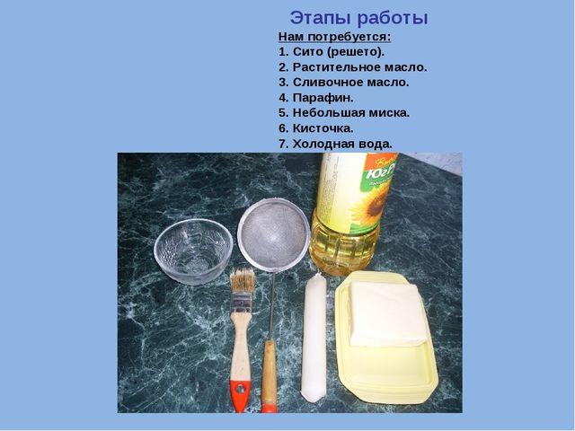 Этапы работы Нам потребуется: 1. Сито (решето). 2. Растительное масло. 3. Сл...