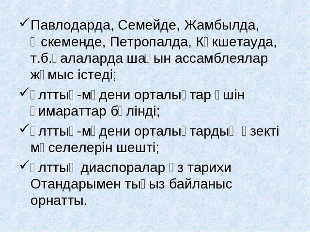 Павлодарда, Семейде, Жамбылда, Өскеменде, Петропалда, Көкшетауда, т.б.қалалар...