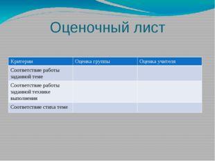 Оценочный лист Критерии Оценка группы Оценка учителя Соответствие работы зада
