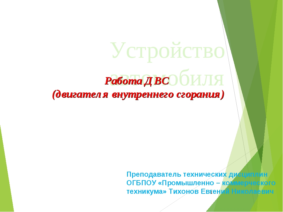 * Устройство автомобиля Работа ДВС (двигателя внутреннего сгорания) Преподава...