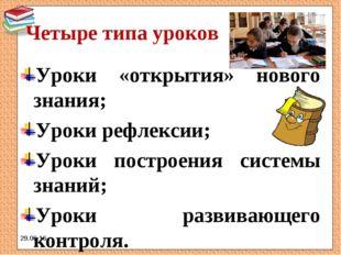 Четыре типа уроков Уроки «открытия» нового знания; Уроки рефлексии; Уроки пос