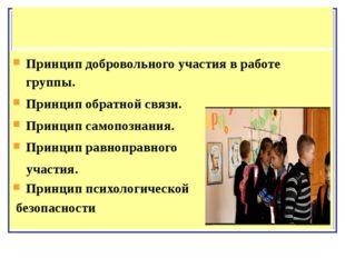 Принцип добровольного участия в работе группы. Принцип обратной связи. Принци