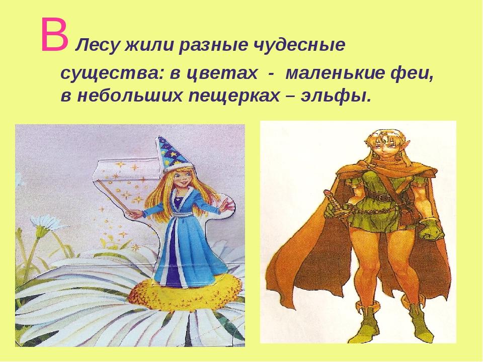 В Лесу жили разные чудесные существа: в цветах - маленькие феи, в небольших п...