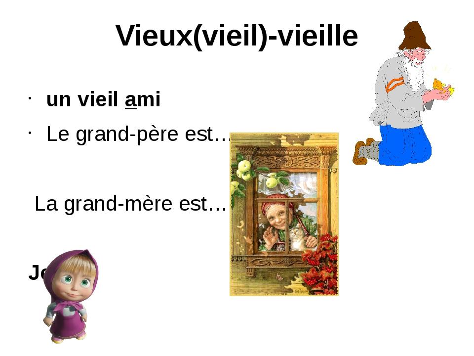 Vieux(vieil)-vieille un vieil ami Le grand-père est… La grand-mère est…. Jeune