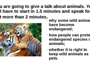 You are going to give a talk about animals. You will have to start in 1.5 min