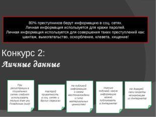 Конкурс 2: Личные данные 80% преступников берут информацию в соц. сетях. Личн