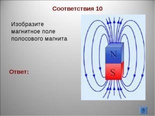 Изобразите магнитное поле полосового магнита Ответ: Соответствия 10