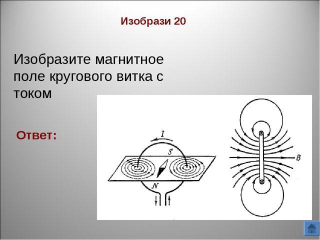 Изобрази 20 Ответ: Изобразите магнитное поле кругового витка с током