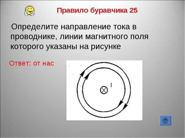 Правило буравчика 25 Ответ: от нас Определите направление тока в проводнике,...