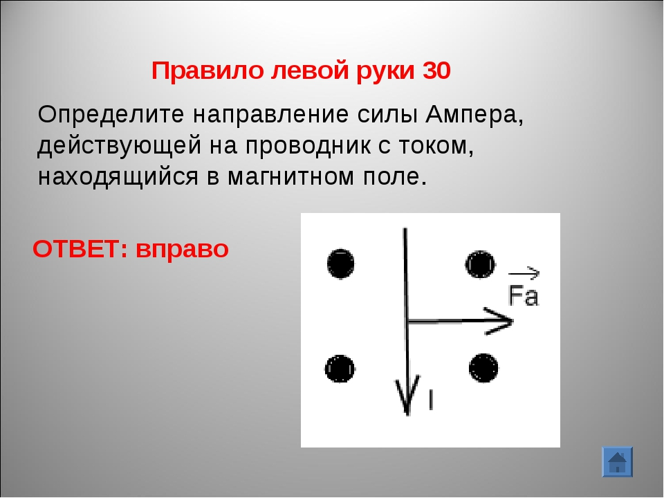 ОТВЕТ: вправо Правило левой руки 30 Определите направление силы Ампера, дейст...