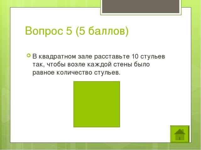 Вопрос 5 (5 баллов) В квадратном зале расставьте 10 стульев так, чтобы возле...