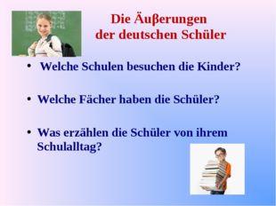 Die Äuβerungen der deutschen Schüler Welche Schulen besuchen die Kinder? Welc