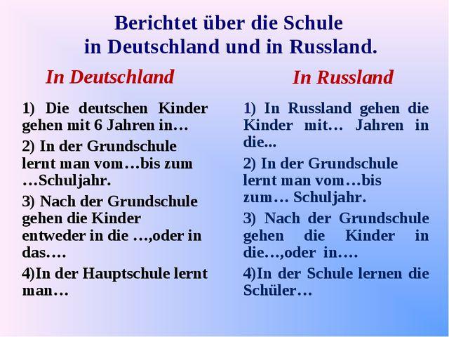 Berichtet über die Schule in Deutschland und in Russland. In Deutschland In R...