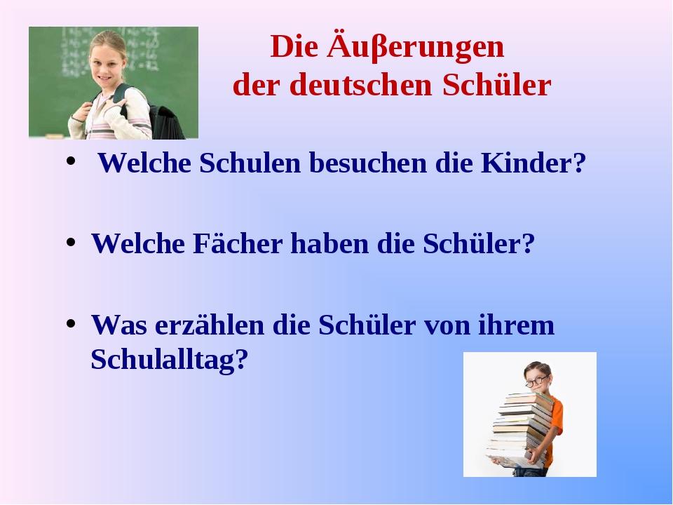Die Äuβerungen der deutschen Schüler Welche Schulen besuchen die Kinder? Welc...