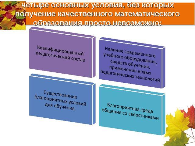 четыре основных условия, без которых получение качественного математического...