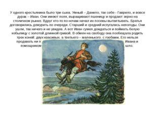 У одного крестьянина было три сына. Умный – Данило, так себе - Гаврило, и вов