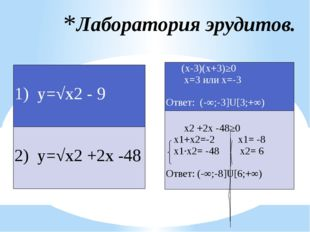 Лаборатория эрудитов.  1) у=√х2- 9  2) у=√х2+2х -48  (х-3)(х+3)≥0 х=3или х