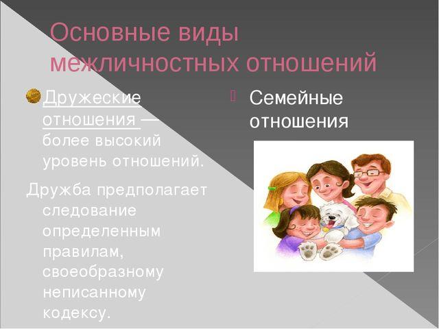 Основные виды межличностных отношений Дружеские отношения — более высокий уро...