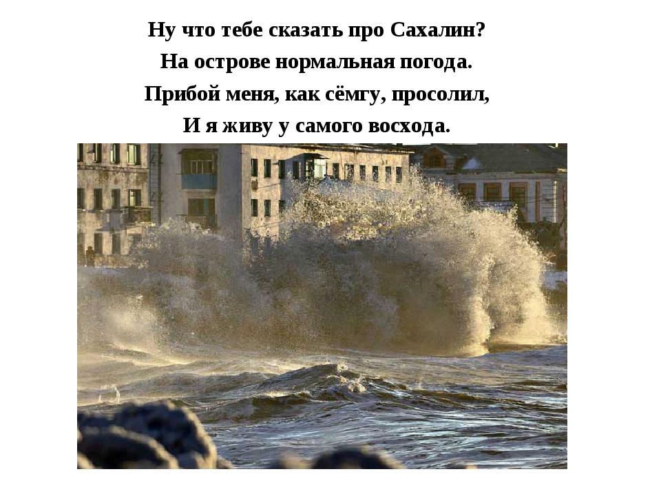 Ну что тебе сказать про Сахалин? На острове нормальная погода. Прибой меня, к...