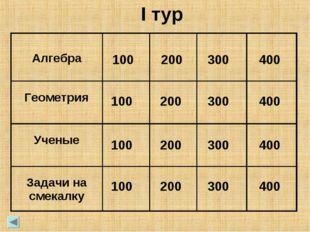 100 100 100 100 200 200 200 200 300 300 300 300 400 400 400 400 I тур Алгебра