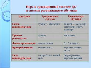 Игра в традиционной системе ДО и системе развивающего обучения КритерииТради