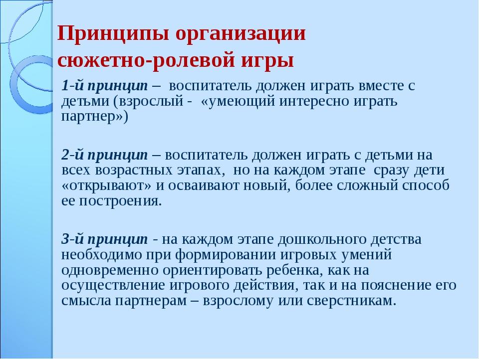 Принципы организации сюжетно-ролевой игры 1-й принцип – воспитатель должен иг...