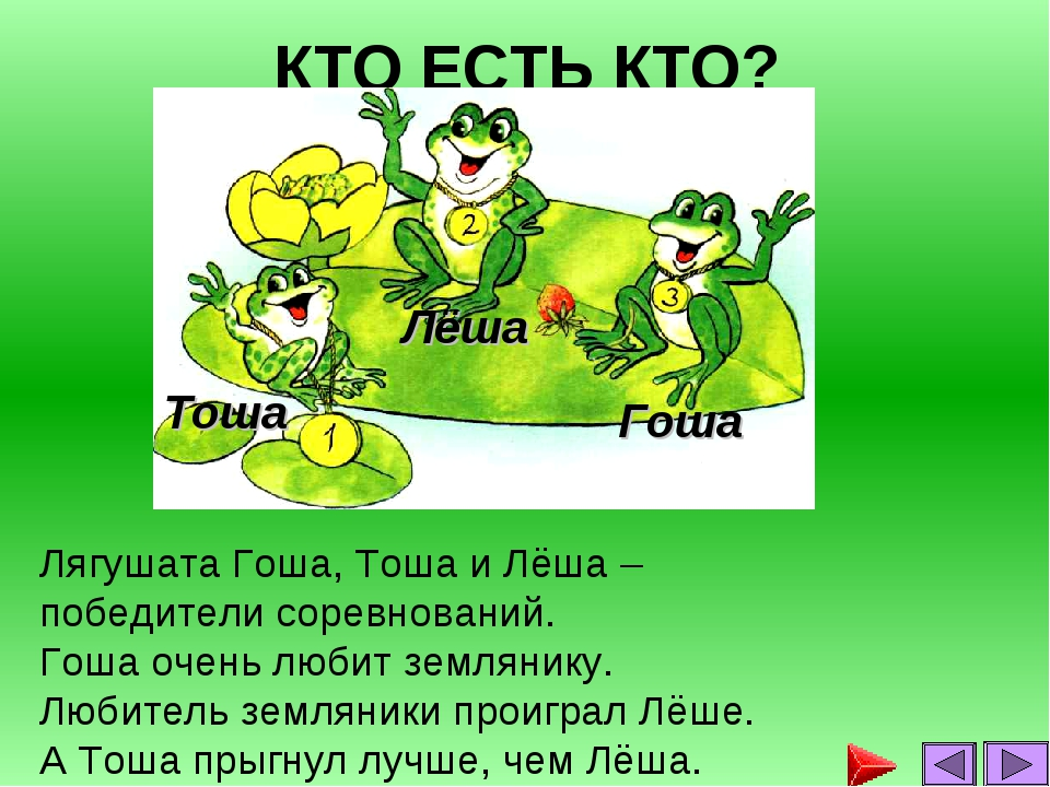 КТО ЕСТЬ КТО? Лягушата Гоша, Тоша и Лёша – победители соревнований. Гоша очен...
