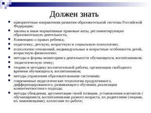 Должен знать приоритетные направления развития образовательной системы Россий