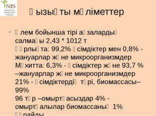 Қызықты мәліметтер  Әлем бойынша тірі ағзалардың салмағы 2,43 * 1012 т Құрлы