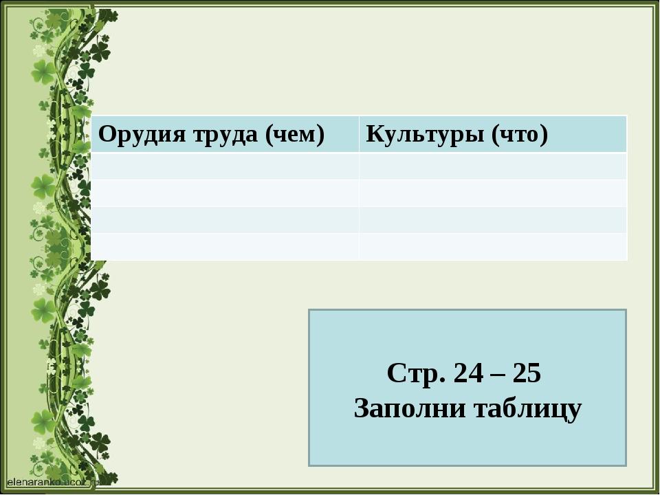 Стр. 24 – 25 Заполни таблицу Орудия труда (чем)Культуры (что)
