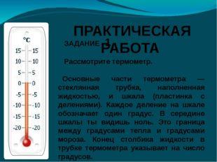 ЗАДАНИЕ 1 Рассмотрите термометр. Основные части термометра — стеклянная труб