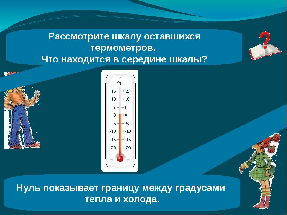 Рассмотрите шкалу оставшихся термометров. Что находится в середине шкалы? Нул...