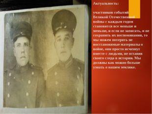 Актуальность: участников событий Великой Отечественной войны с каждым годом с