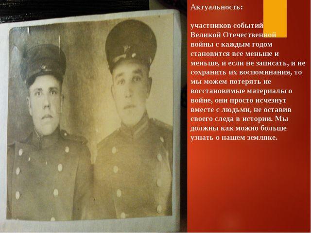 Актуальность: участников событий Великой Отечественной войны с каждым годом с...