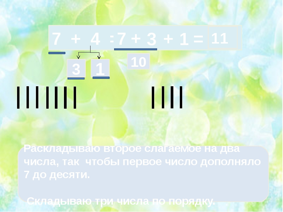 7 + 4 = 3 1 Раскладываю второе слагаемое на два числа, так чтобы первое числ...