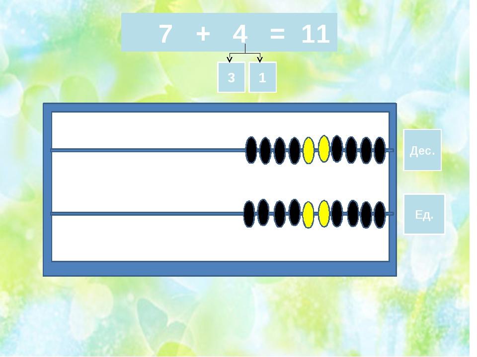 7 + 4 = Дес. Ед. 3 1 11
