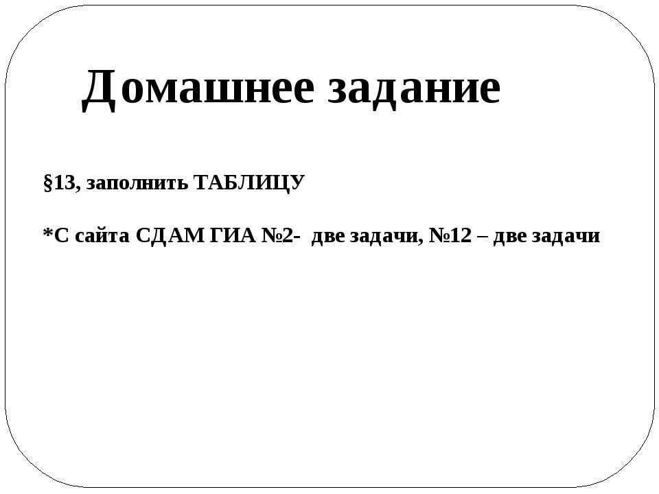 Домашнее задание §13, заполнить ТАБЛИЦУ *С сайта СДАМ ГИА №2- две задачи, №12...