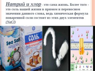 Натрий и хлор- это сама жизнь.Более того - это соль нашей жизни в прямом и