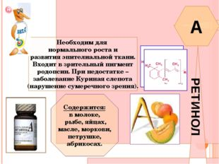 ВИТАМИН A РЕТИНОЛ Необходим для нормального роста и развития эпителиальной тк